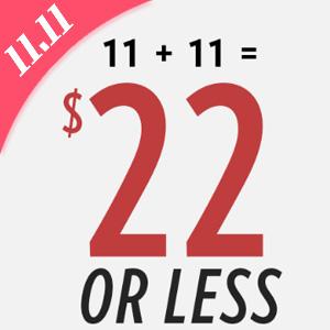 6PM双十一促销$11+$11=$22封顶