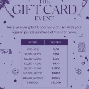 Bergdorf Goodman购时尚正价商品最高送$12000礼品卡