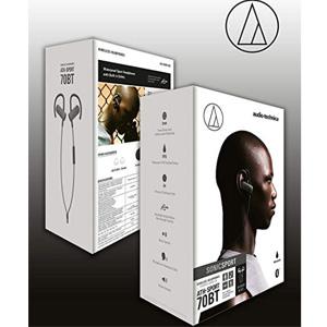 Audio Technica铁三角 ATH-SPORT70BT 无线蓝牙防水挂耳运动耳机