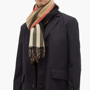 Burberry羊绒条纹围巾