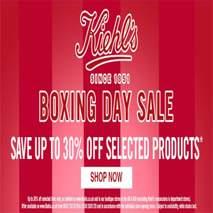 Kiehl's科颜氏英国官网boxing day精选商品低至7折促销