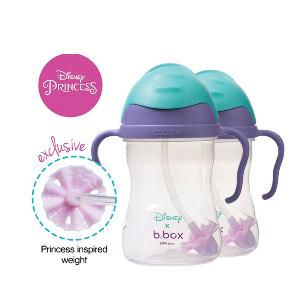 【两件装】B.BOX 限量迪士尼系列-美人鱼款 婴幼儿重力球吸管杯 防漏 240ml 紫蓝色