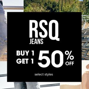 Tillys精选RSQ牛仔裤第二件半价促销