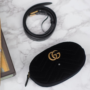 Gucci古驰双GG Marmont黑色丝绒腰包