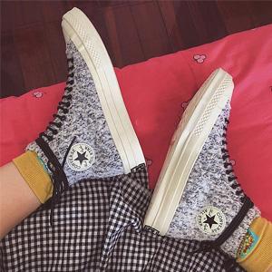 Converse Chuck 70 中性款高帮灰白加绒帆布鞋