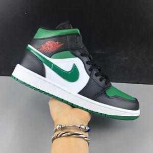 乔丹 Air Jordan 1 Mid 大童款篮球鞋 黑绿脚趾
