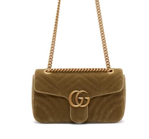 Gucci Tan Velvet Small GG Marmont 2.0链条包