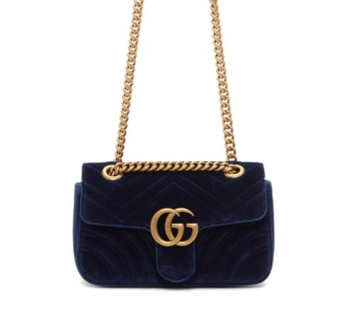 Gucci Blue Velvet Mini GG Marmont 2.0 丝绒链条包