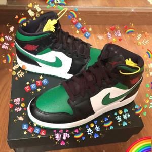 Jordan AJ 1 Mid男款黑绿脚趾篮球鞋