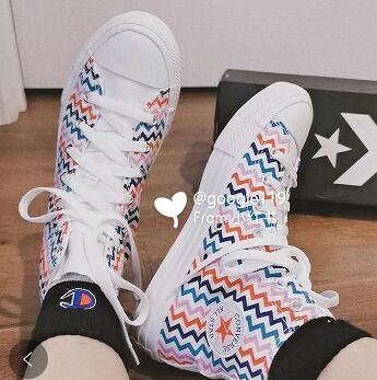 春季新款!Converse匡威All Star高帮彩色条纹款女鞋帆布鞋