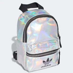 Adidas阿迪达斯 三叶草镭射银色双肩包