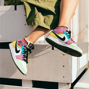 Air Jordan 1 Mid AJ1多彩拼接 女款篮球鞋