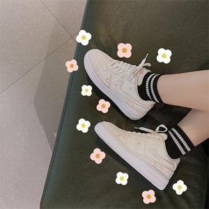 新品!Nike耐克 Air Force 1 空军1号 解构奶油白运动鞋