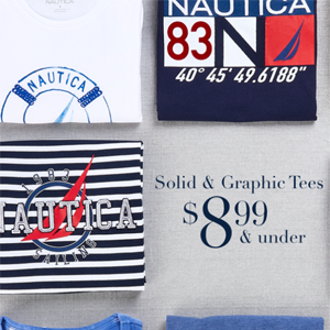 Nautica精选男士T恤$8.99封顶