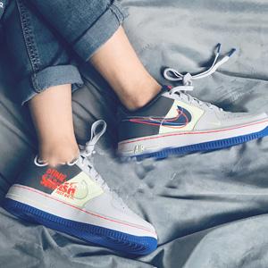 Nike Air Force 1 LV8 灰蓝三勾大童款板鞋