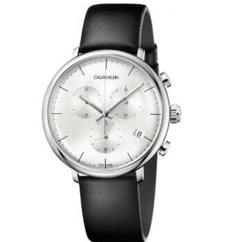 白菜价!Calvin Klein 卡尔文·克雷恩 High Noon 系列 银黑色男士时装腕表 K8M211C6