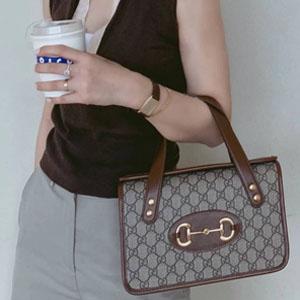 Gucci Horsebit 1955经典棕色手提包