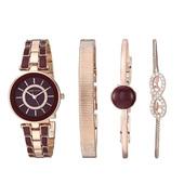 Anne Klein女士AK/3286BYST施华洛世奇水晶 玫瑰金色 勃艮第手表和手链套装