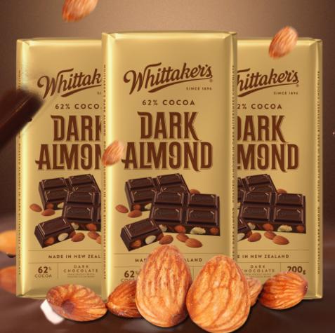 27.8包邮!新西兰 惠特克 62%可可脂扁桃仁巧克力 200g 多口味