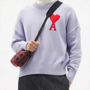 AMI 香芋紫 爱心毛衣