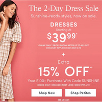 Ann Taylor美国官网现有连衣裙低至$39.99+折扣区额外8折促销