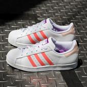 adidas Originals三叶草Superstar粉橙女款贝壳头板鞋
