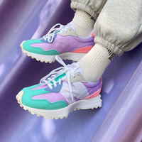 New Balance新百伦327大童款绿紫粉复古休闲跑鞋