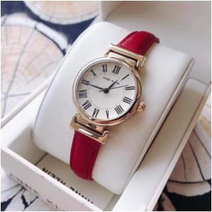 新低!Anne Klein安妮克莱因 AK/2246CRRD 女士皮革表带手表