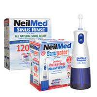 包邮包税!NeilMed 电动脉冲洗鼻器 1台 + 洗鼻盐包 120包