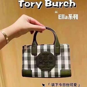 补货!Tory Burch  Ella绿格子托特包