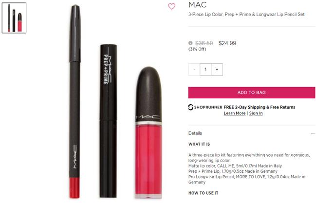 MAC 唇部彩妆3件套6.9折.99