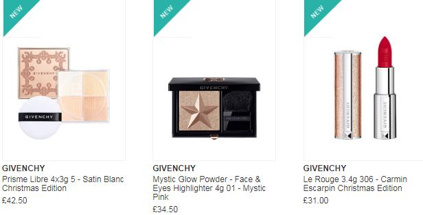 Escentual官網購Givenchy 聖誕系列彩妝優惠促銷! 聖誕限定口紅/散粉和高光 售價£31起 滿£30免英國境內運費
