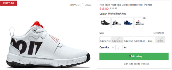 new arrive another chance great prices Nike Team Hustle D8 中童篮球运动鞋,5.1折£18(约159元) - 拔草哦