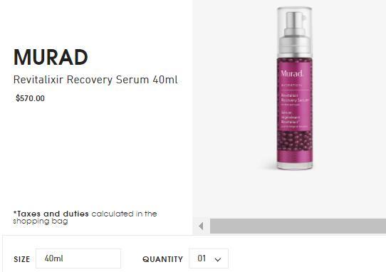 慕拉Murad修复抗氧化保湿精华液40ml直邮港澳570港币约505元